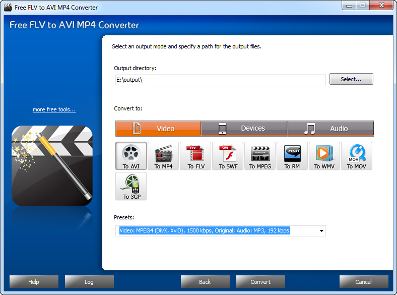 Free FLV to AVI MP4 Converter Screen shot